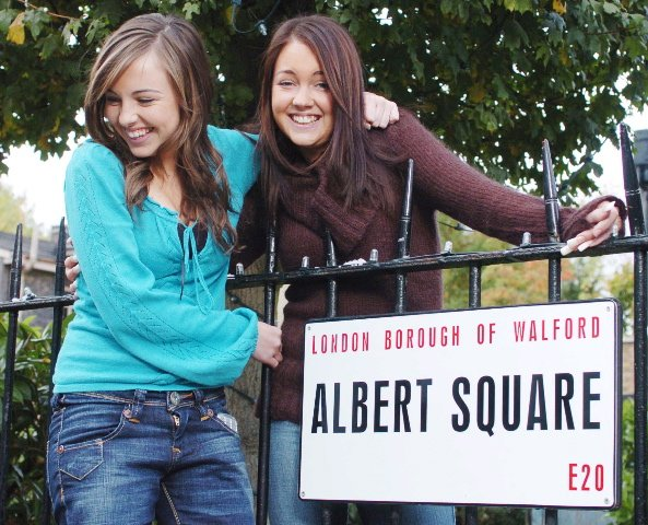 """EXCLUSIVE PICTURES OF EASTENDERS"""" NAUGHTY GIRLS RUBY ALLEN AND STACEY SLATER ON THE SET OF BBC TV'S """"EASTENDERS"""" LEFT) LOUISA LYTTON(Ruby Allen-turquoise top) RIGHT)LACEY TURNER (Stacey Slater-Brown top)"""